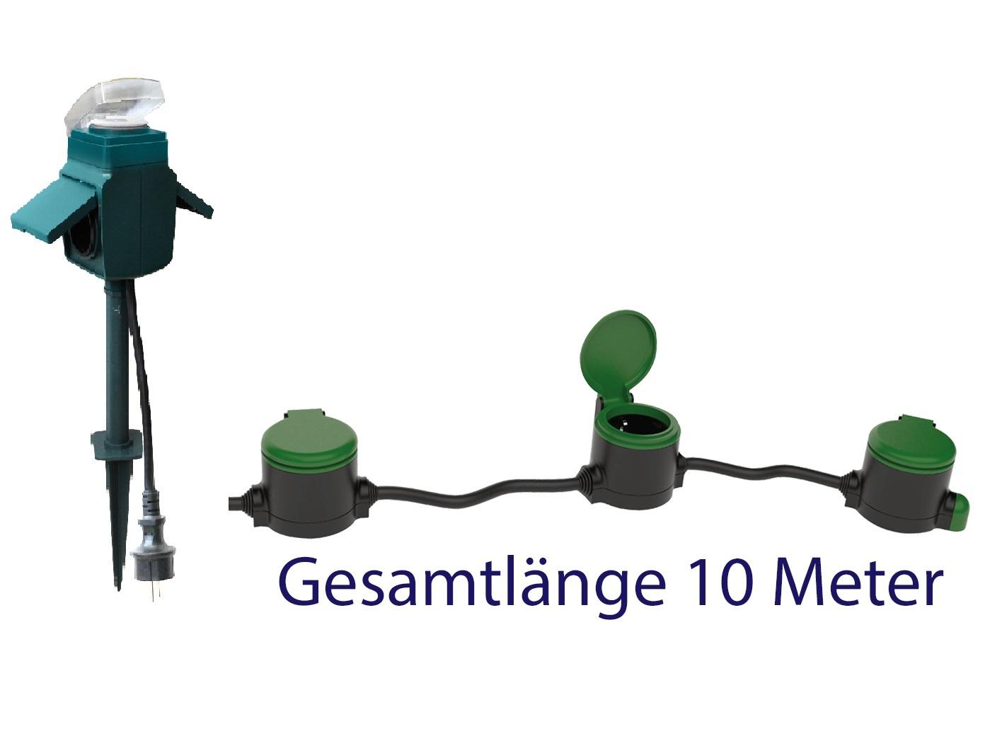 Gartensteckdosen Für Reihenschaltung 10m Stromverteiler