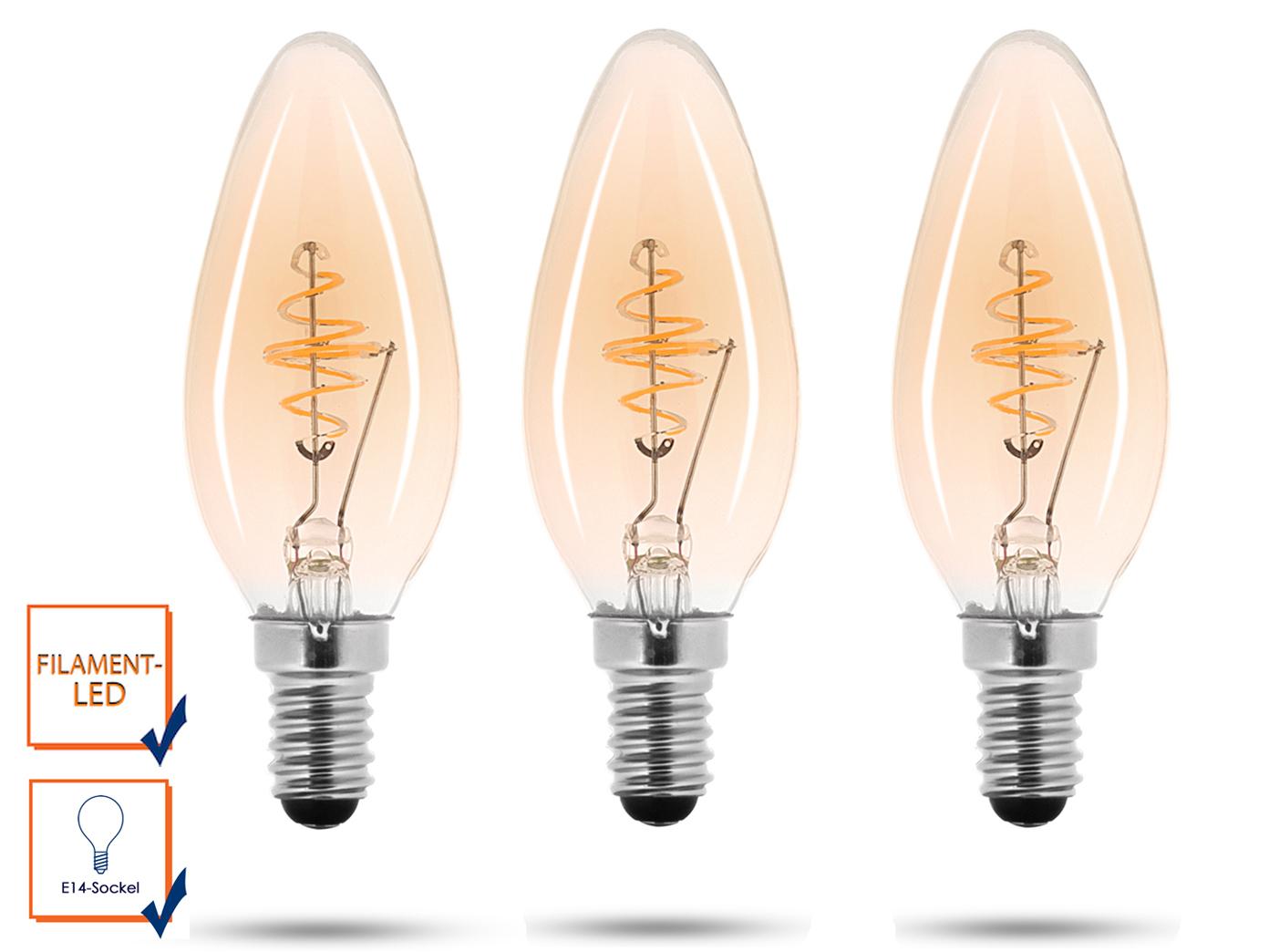3 LED Lampe, 3 Watt, 150 Lumen, 2000 Kelvin, E14-Sockel ...