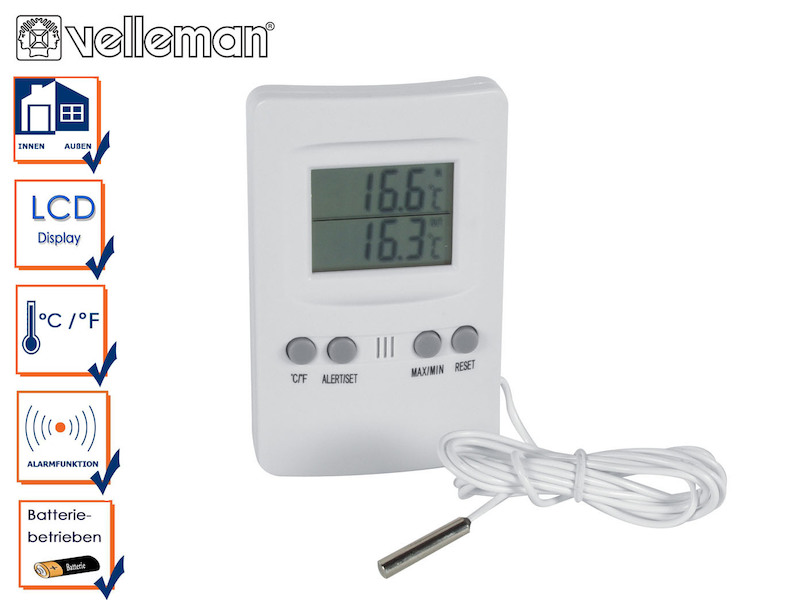thermometer mit au enf hler temperaturanzeige innen au en station lcd display ebay. Black Bedroom Furniture Sets. Home Design Ideas