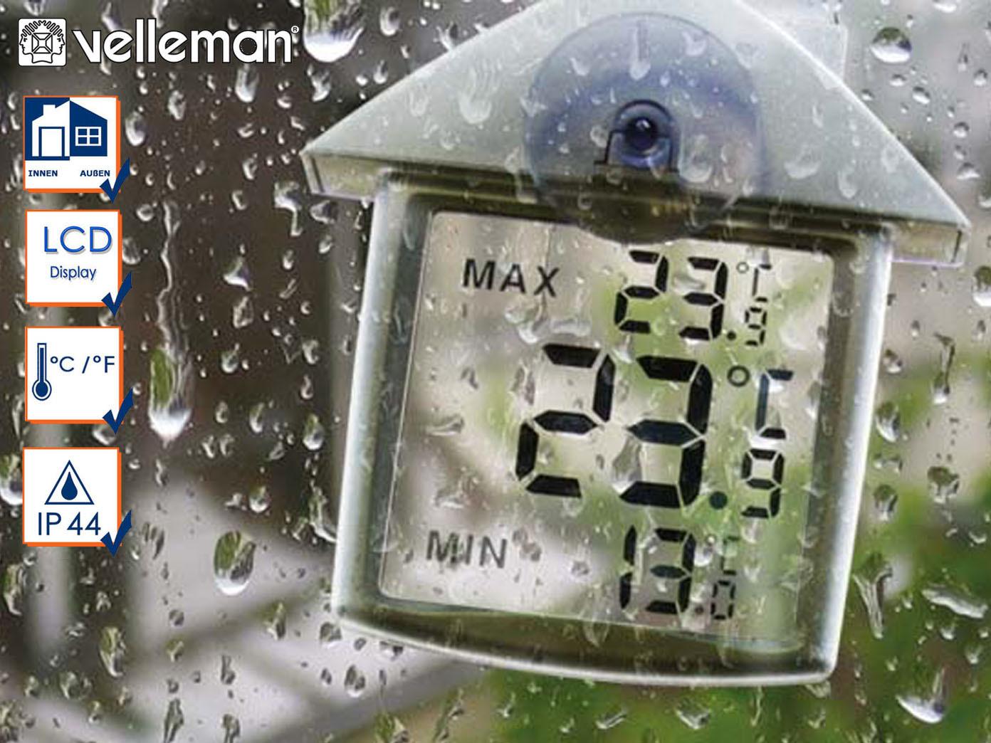 IP44 Thermometer digital fürs Fenster innen und außen ...