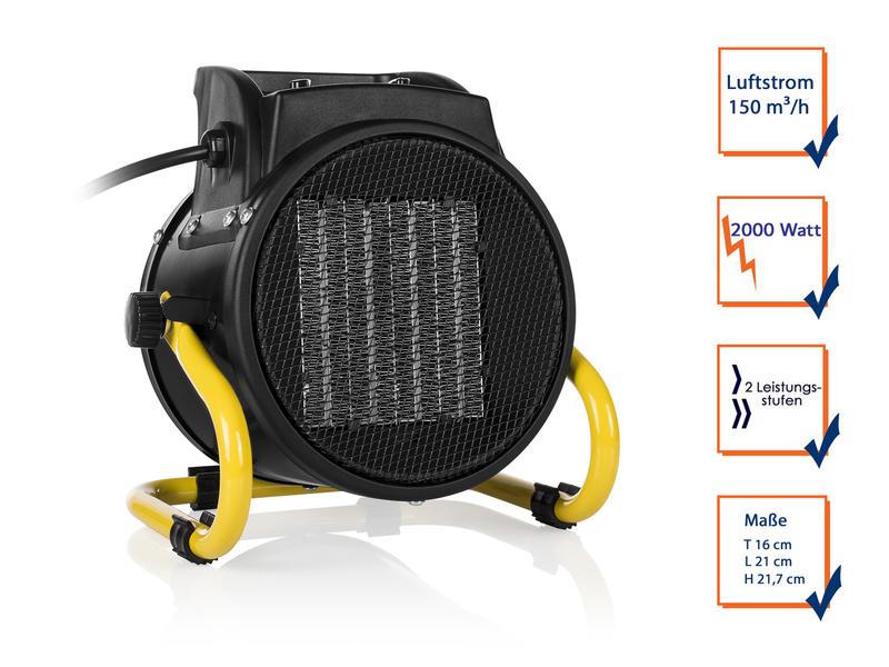 elektroheizer mit ventilator funktion keramik ptc 1000 2000 watt thermostat ebay. Black Bedroom Furniture Sets. Home Design Ideas