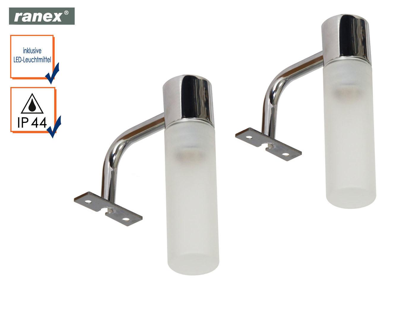2 Stk. Badleuchte Spiegellampe IP44 mit Glasschirm Spiegelleuchte ...
