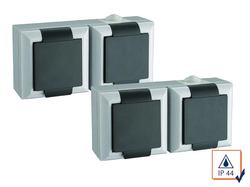 2er set doppelsteckdosen f r feuchtr ume oder au enbereich ip44 2 polig ebay. Black Bedroom Furniture Sets. Home Design Ideas