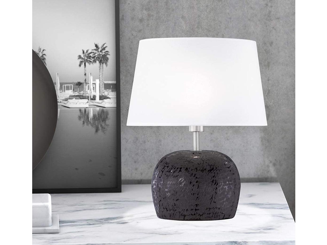 LED Tischlampe mit Schirm Keramik silber H.38cm Schlafzimmer Wohnzimmer Esszimer