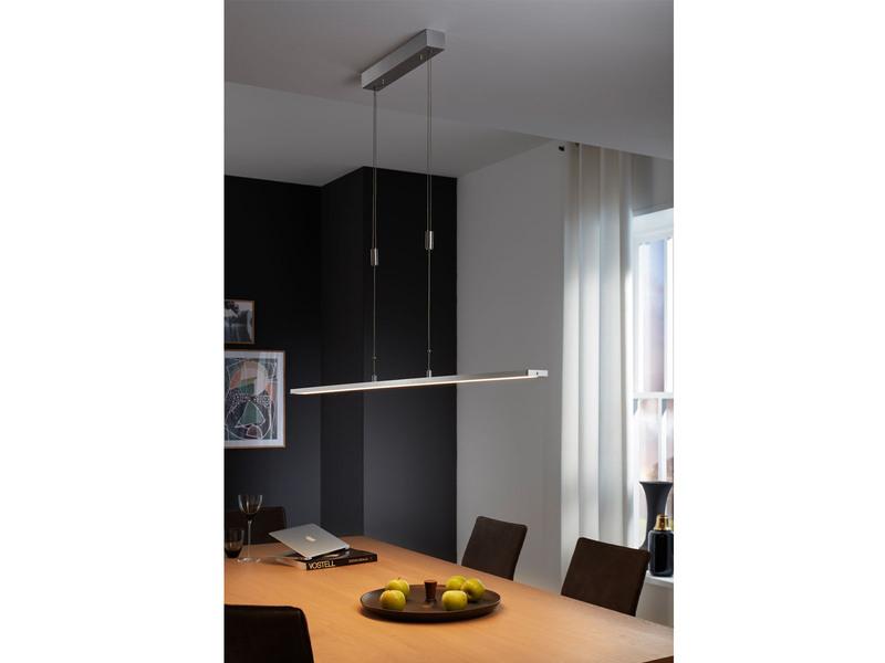 Hängeleuchte SHINE-LED, Aluminium matt, höhenverstellbar & dimmbar, Länge 120 cm