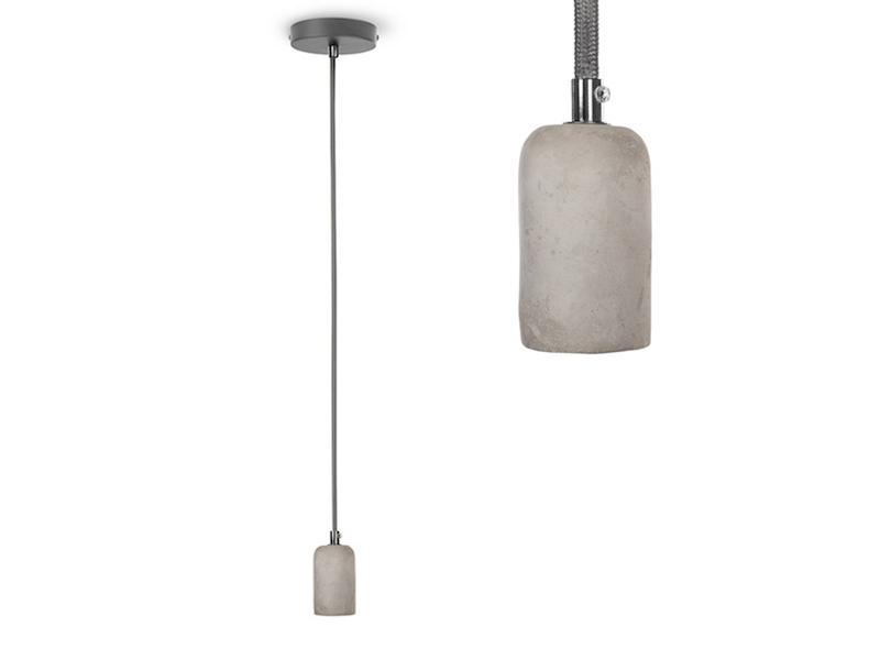 Abhängung Suspension aus Beton Ø5,5cm Stoff E27 Pendelleuchte Hängelampe Vintage