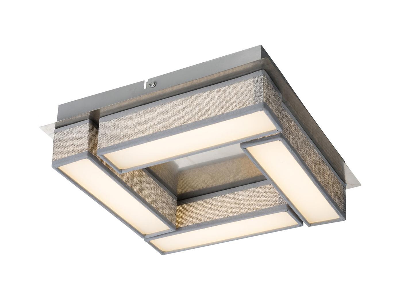Globo LED Deckenleuchte 30x30 cm Textil grau, Deckenlampe modern ...