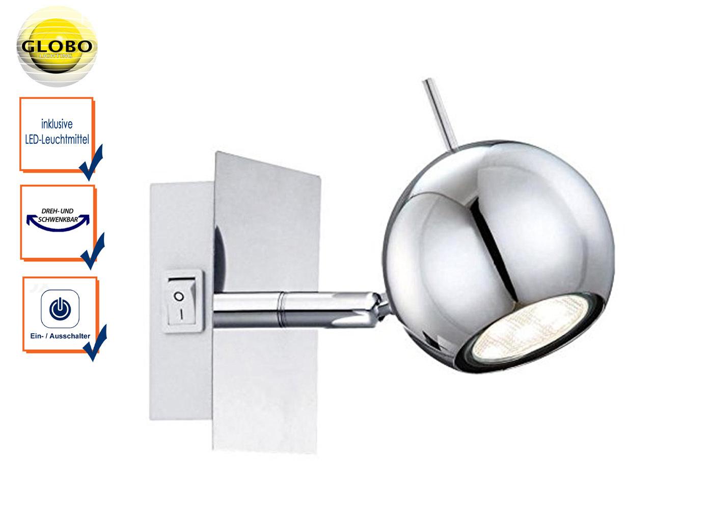 Globo Retro Wandstrahler Chrom, LED Wandspot mit Schalter, Leselampe schwenkbar