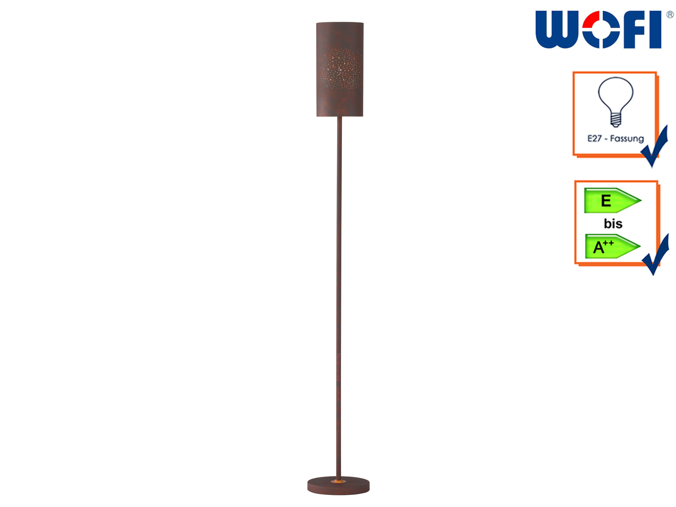 110cm Standlampe Wohnzimmerleuchten Standleuchte Stoffschirm weiß mit Dekor H