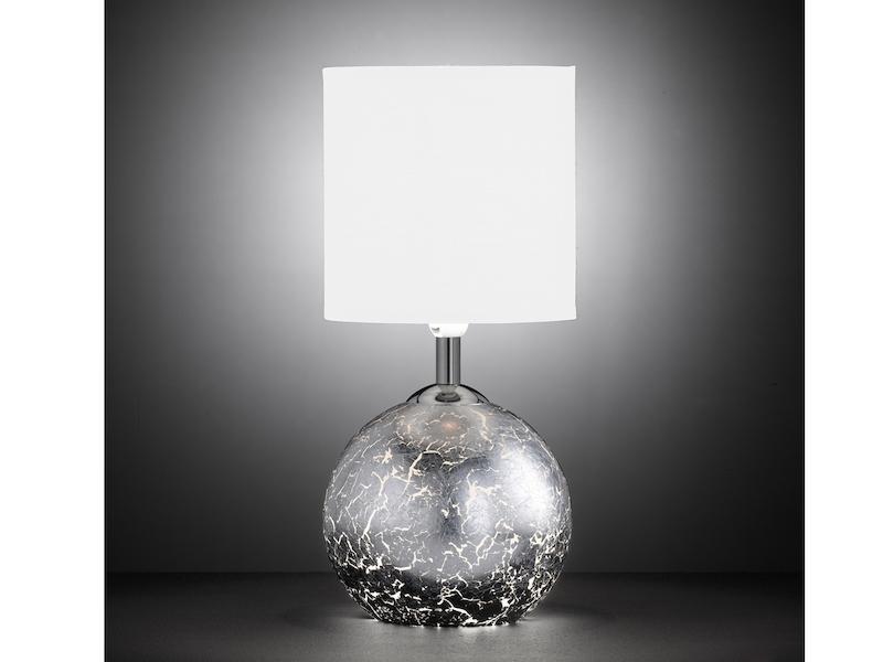 LED Tischlampe mit Schirm weiß Glasfuß Silber G9-Fassung Nachttischlampe Diele
