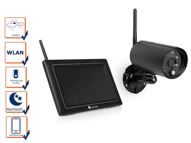 wlan berwachungskamera mit monitor au enkamera mit nachtsicht berwachungs app ebay. Black Bedroom Furniture Sets. Home Design Ideas