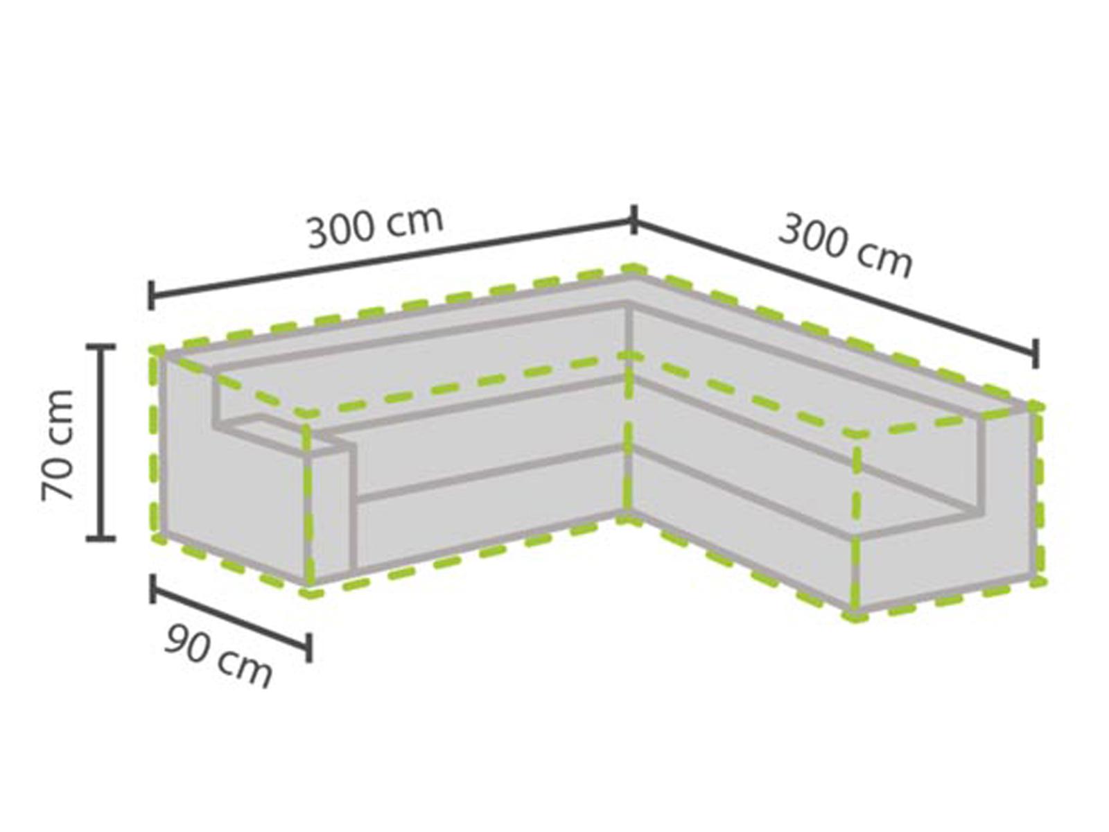 Muebles de jardín muebles Lounge L-rampas en cubierta 300x300cm impermeable, lona XXL
