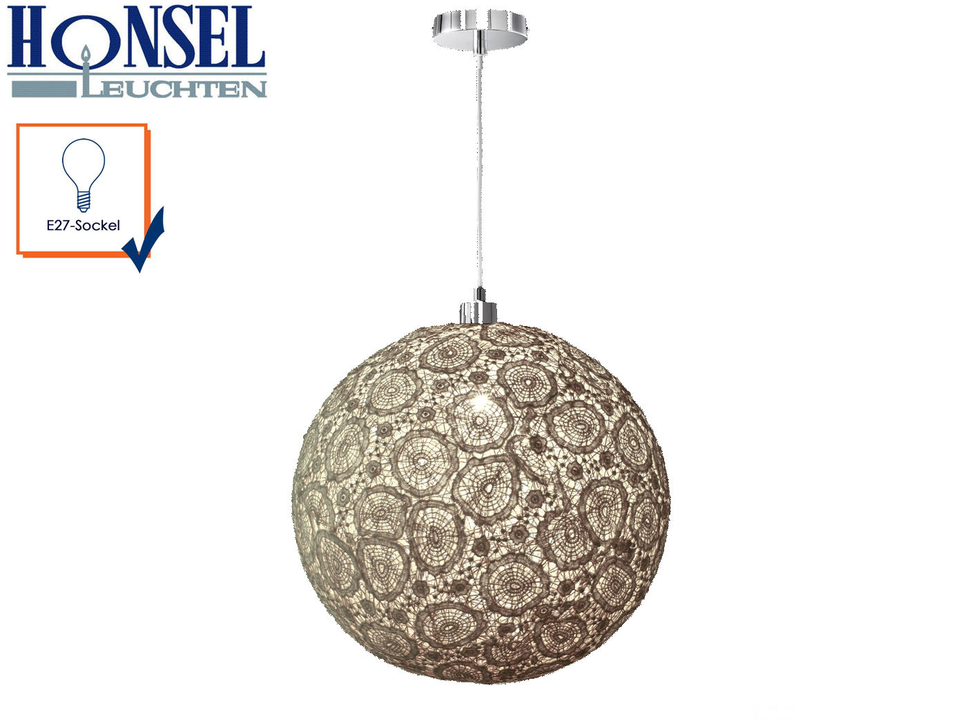 Luce pendente Fancy sostanza ombrello SFERA CAPPUCCINO 40cm, LAMPADA A SOSPENSIONE MarroneeE DECoro