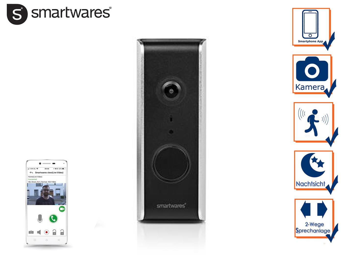 Videosprechanlage für Smartphone, HD-Kamera, Videoüberwachung Türstation 2 Draht