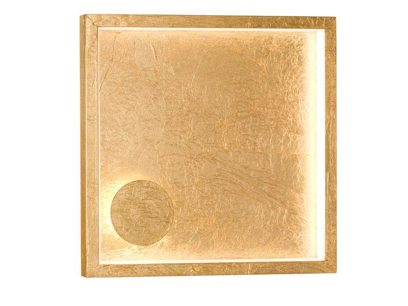 LED Wandlampe viereckig 20,5x20,5cm goldfarbig 12W Wandbeleuchtung Flur Diele