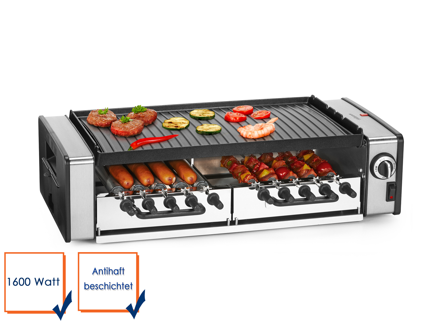 elektrogrill tischgrill 1600w, grill drehspieße, partygrill balkon