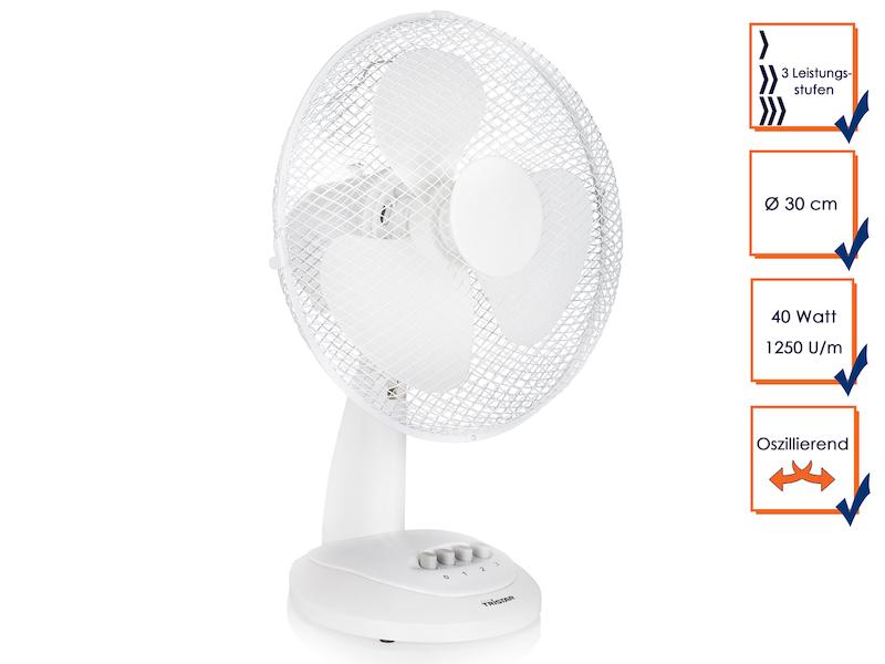 wei er ventilator 2 stufen oszillierend leise tischl fter f r angenehmes klima ebay. Black Bedroom Furniture Sets. Home Design Ideas