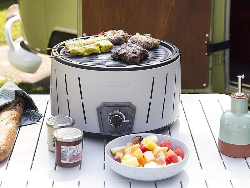 Rauchfreier BBQ Holzkohle Minigrill mit Batterie Lüfter für Picknick /& Balkon