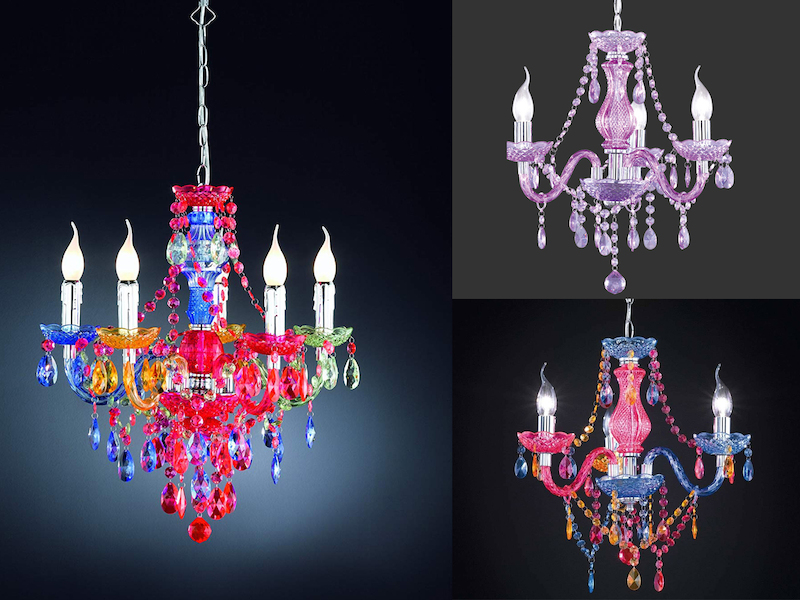 White 5 Light Elegance Chandelier with White Shades and Pink Medium Sashes