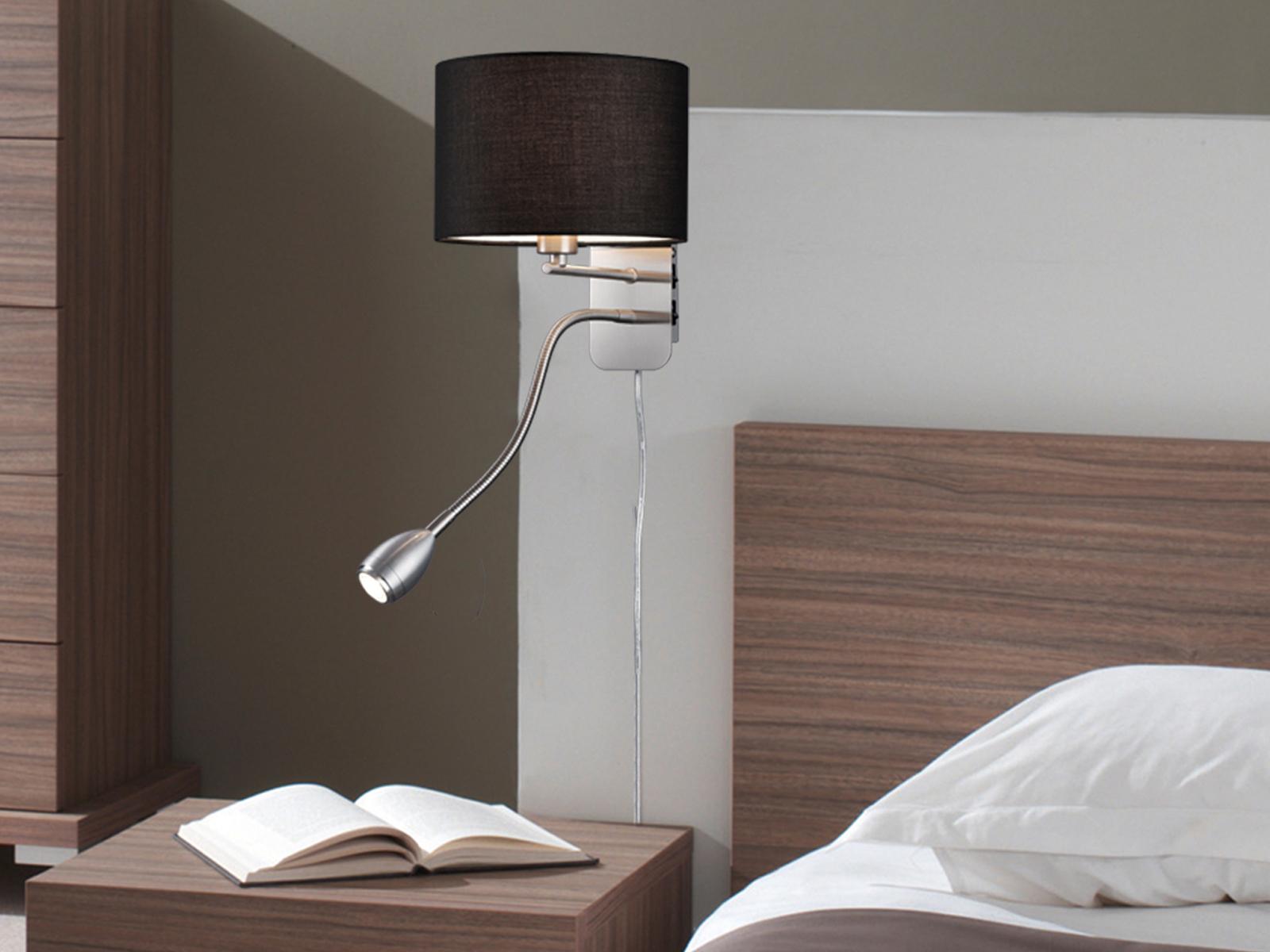 Lampada da parete con tessuto ombrello nero Ø 20cm 20cm 20cm e14