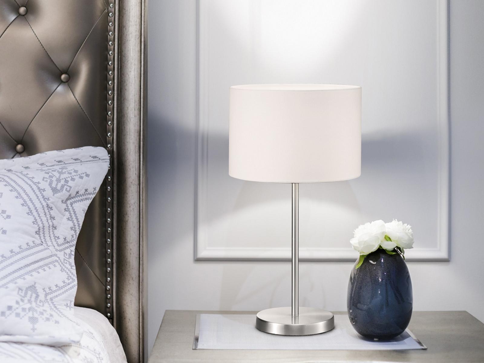 Klassische Tischlampe HOTEL Textilschirm weiß 20cm, Tischleuchte ...