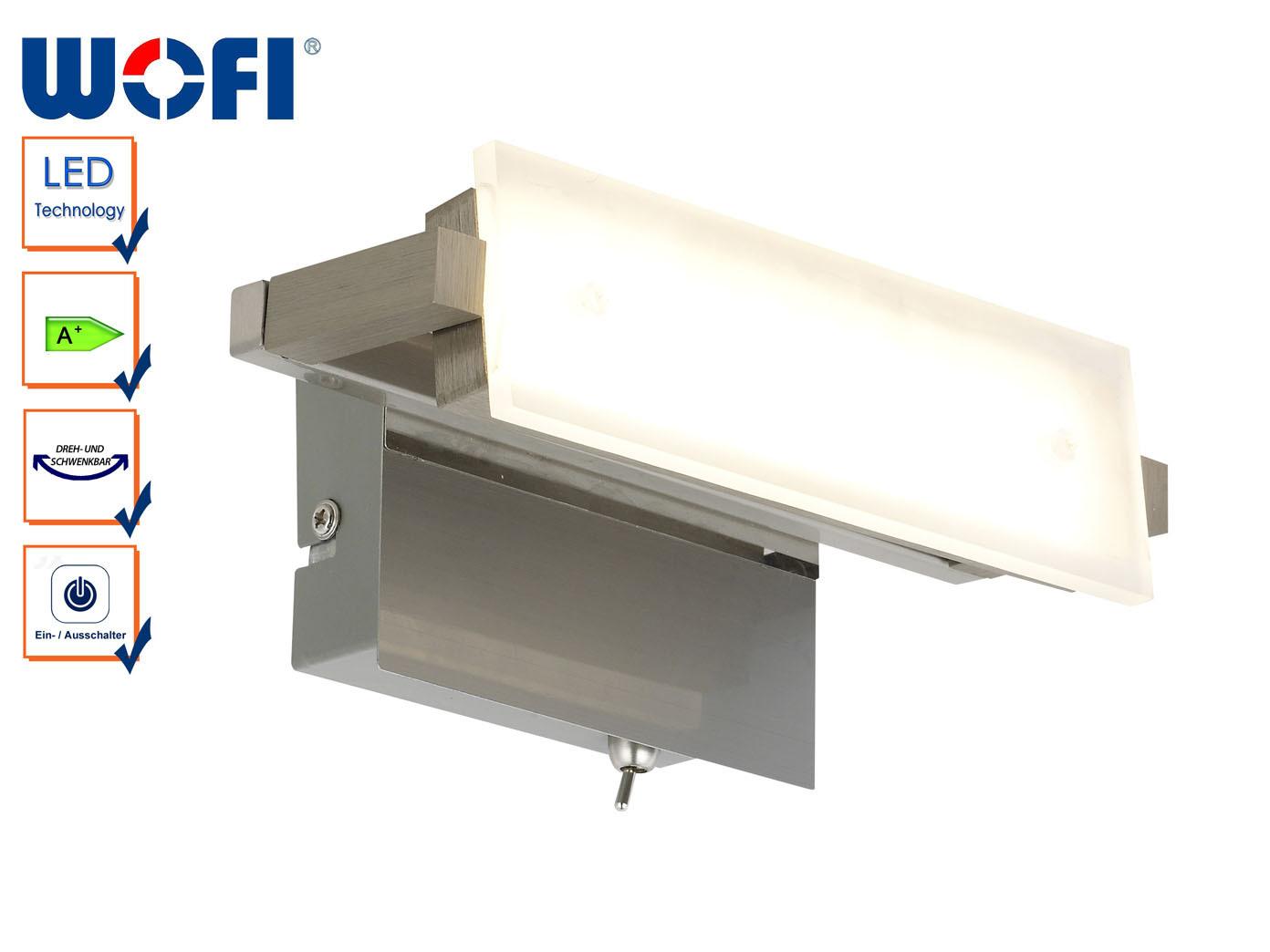 LED Wandlampe schwenkbar, Länge 20 cm, Schalter, Wofi-Leuchten | Verkaufspreis