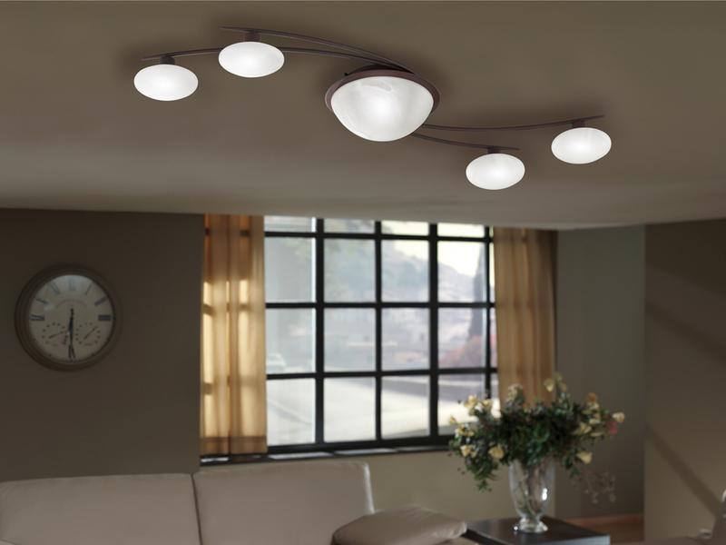 deckenlampe deckenleuchte landhaus metall rost glas alabaster trio leuchten ebay. Black Bedroom Furniture Sets. Home Design Ideas