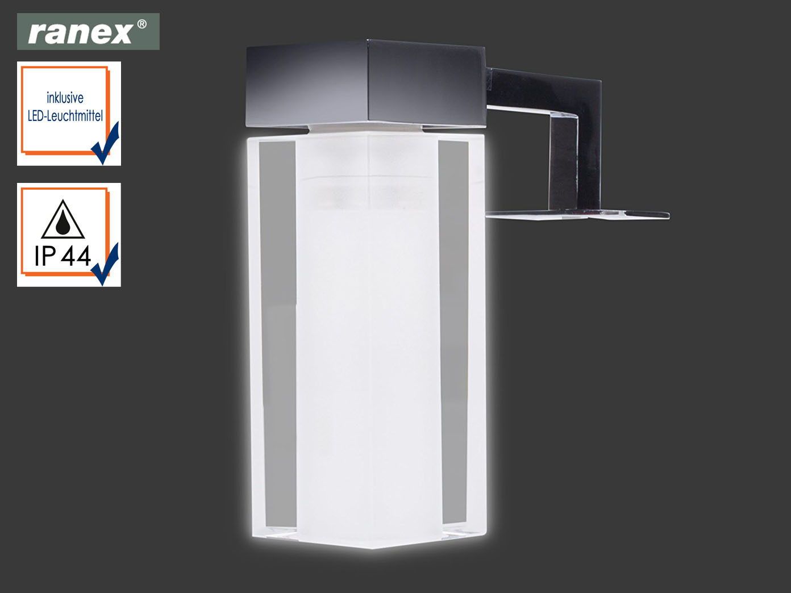 led badleuchte spiegellampe mit glas lampenschirm. Black Bedroom Furniture Sets. Home Design Ideas