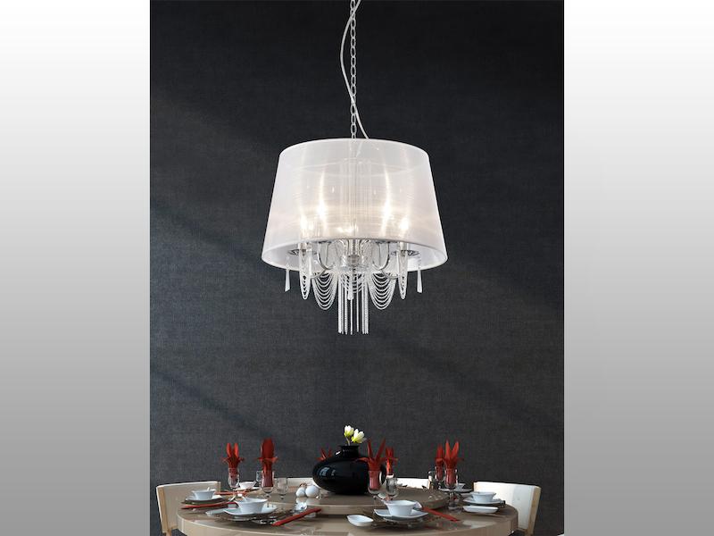 Organza Kronleuchter Lampenschirm: Gold und kristall licht ...