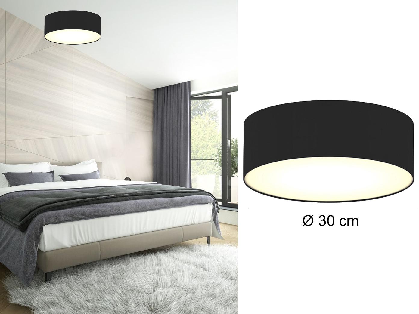 Moderne Deckenbeleuchtung Schirm Rund O 30 Cm Schwarz Extern