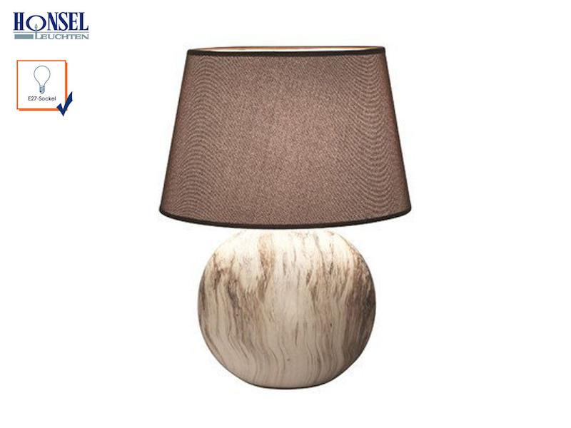 tischleuchte hill strukturstoff braun h he 60cm wohnzimmerlampe honsel leuchten ebay. Black Bedroom Furniture Sets. Home Design Ideas