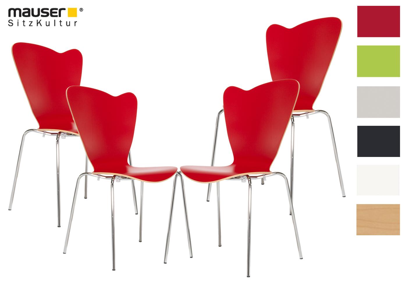 4er design stuhl heart rot stapelstuhl esszimmerstuhl for Stuhl design rot