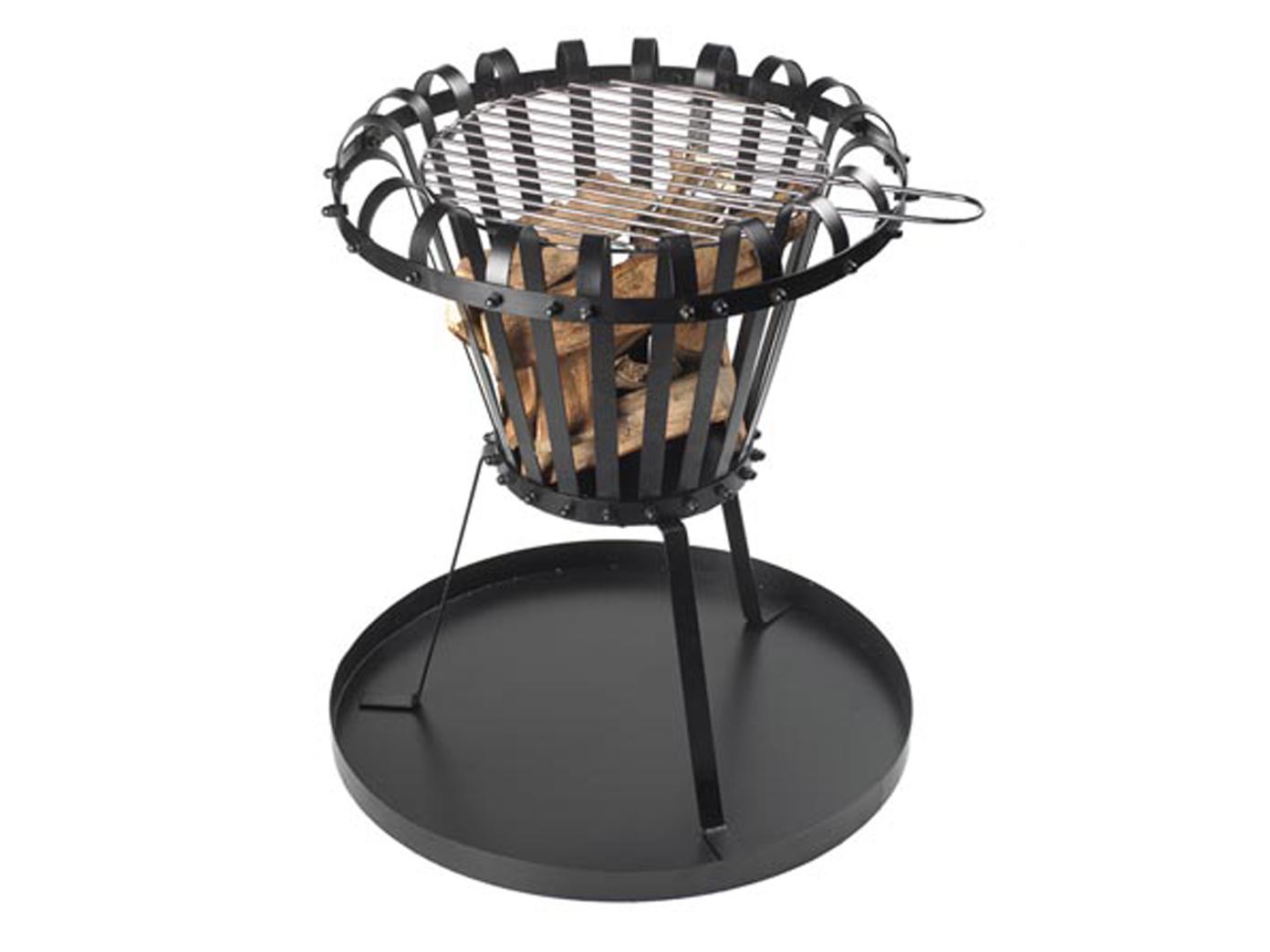 schwarzer runder feuerkorb mit grillrost & bodenplatte Ø 50cm
