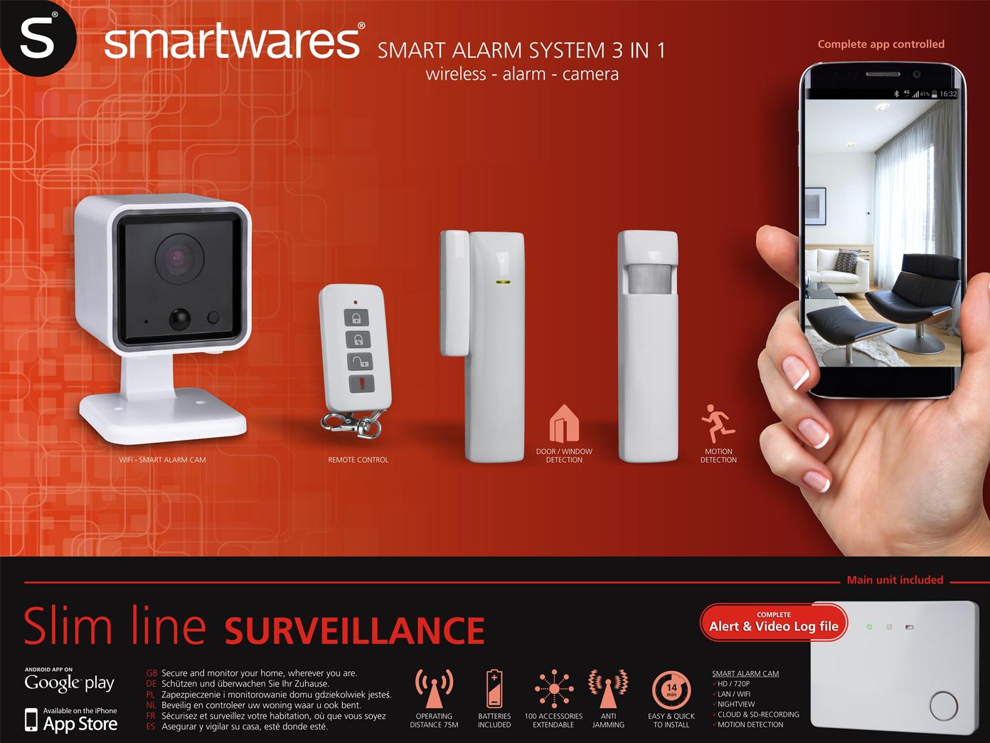 Indoor Funk-Überwachungssystem, ca. 75m, LAN-Anschluss, Steuerung Smartphone App