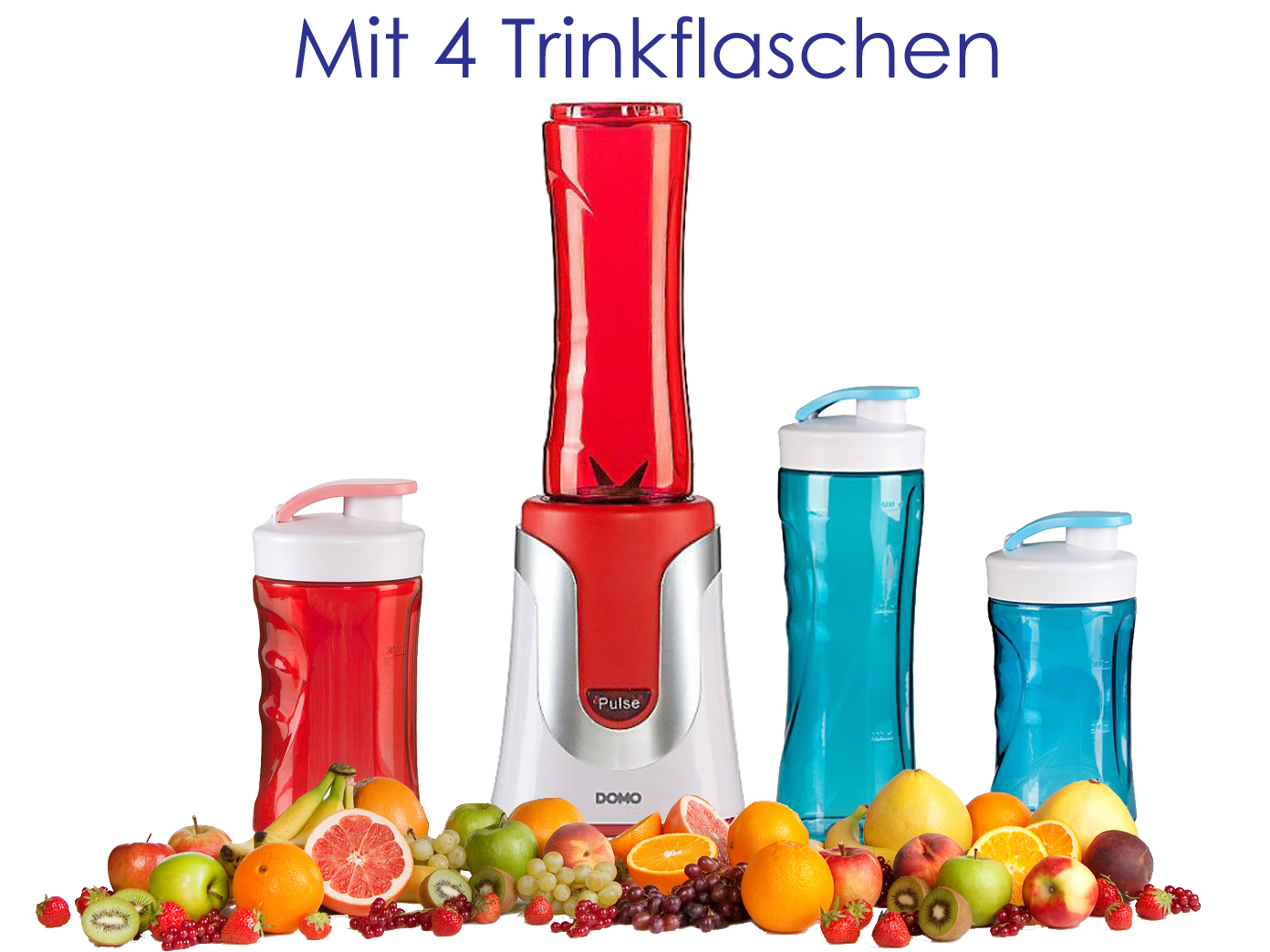 family smoothie maker 300w rot 4 flaschen 300ml 600ml je 2 in rot blau eur 55 49. Black Bedroom Furniture Sets. Home Design Ideas