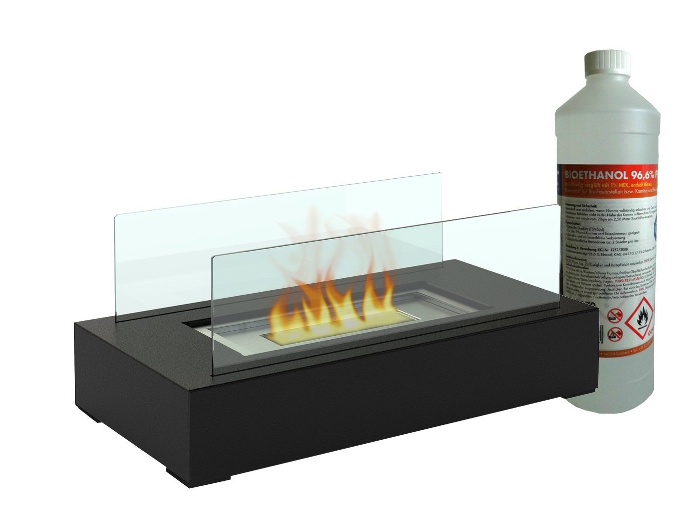 tischkamin dekofeuer tischfeuer bio ethanol kamin metall mit sicherheitsglas eur 39 99. Black Bedroom Furniture Sets. Home Design Ideas
