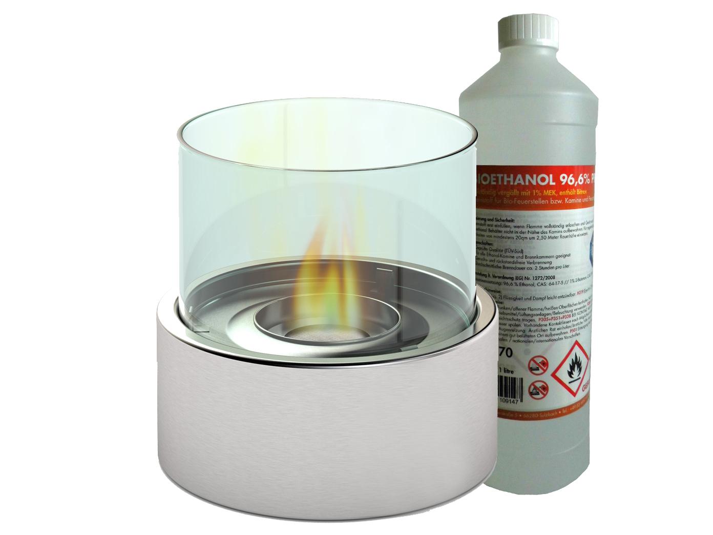 design tischfeuer 1 liter bio ethanol 16cm tischkamin deko feuer glaskamin eur 26 99. Black Bedroom Furniture Sets. Home Design Ideas