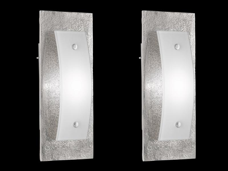 Schalter Wandlampe 2er Set Fischer LED Wandleuchten SHINE-ALU Antik Glas weiß