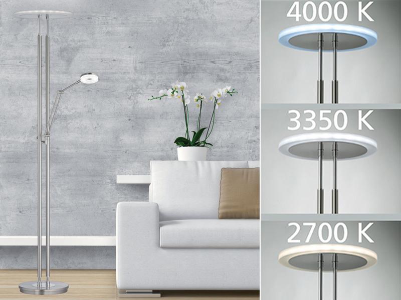 Fischer dimmbarer design led deckenfluter mit leselampe for Leselampe designklassiker