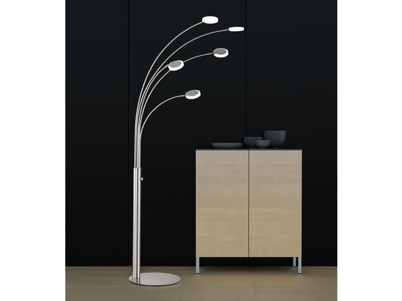 led design stehlampe 5flammig dimmbar bogenleuchte standleuchte fischer leuchten ebay. Black Bedroom Furniture Sets. Home Design Ideas