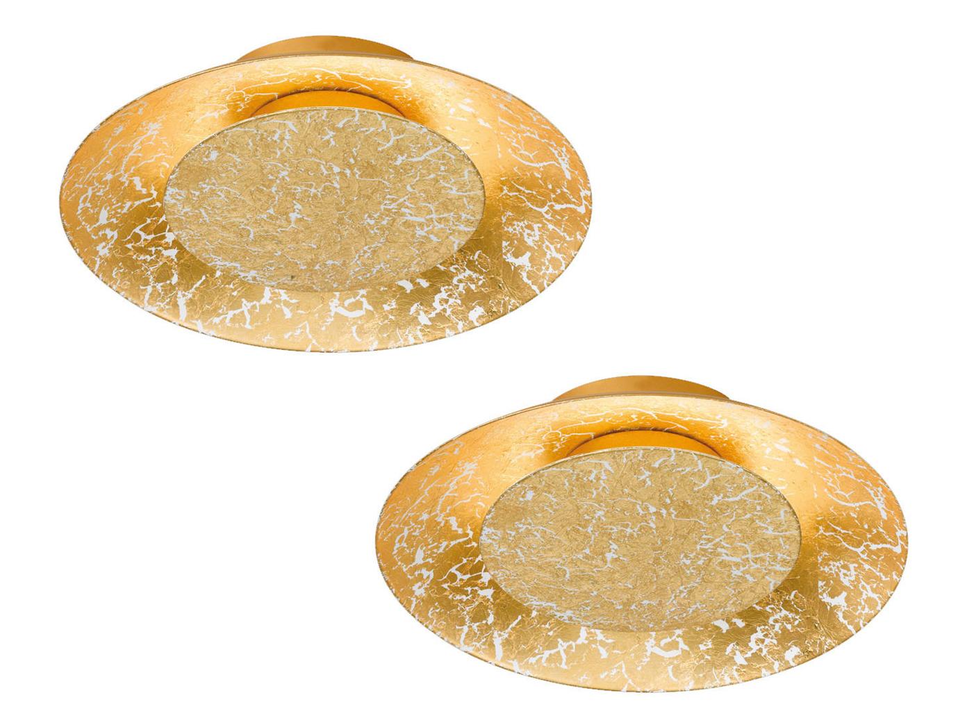 2x runde Design LED Deckenlampe SHINE Farbe gold Ø 21,5cm, Samsung LED, Fischer