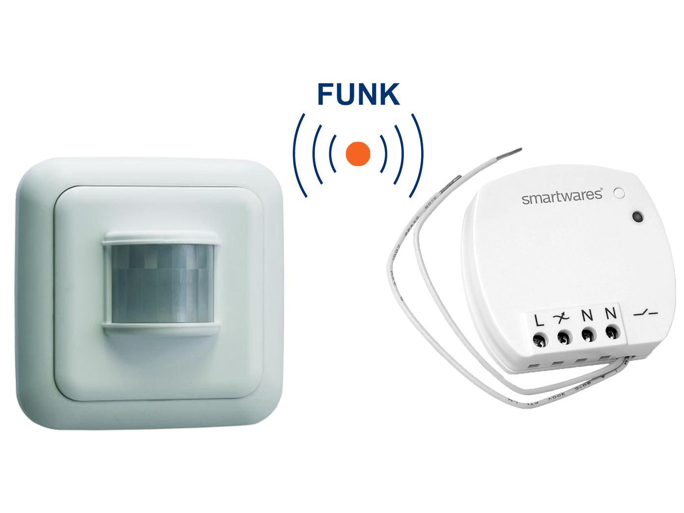 FUNK SCHALTER Set = Mini Funk-Einbauschalter + Bewegungsmelder 400W ...