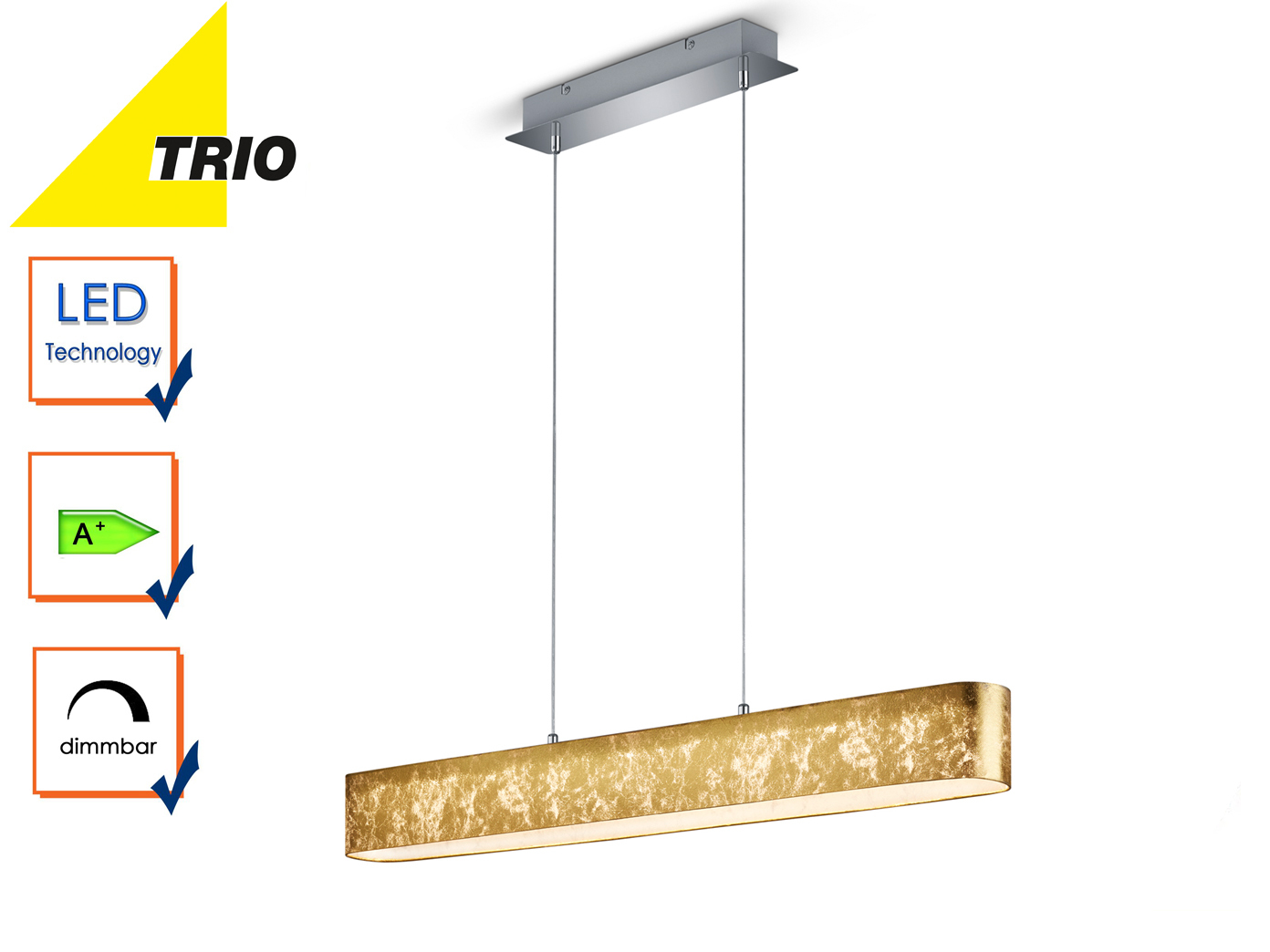 Trio LED Pendelleuchte LUGANO dimmbar Stoffschirm gold, Lampe Küche ...