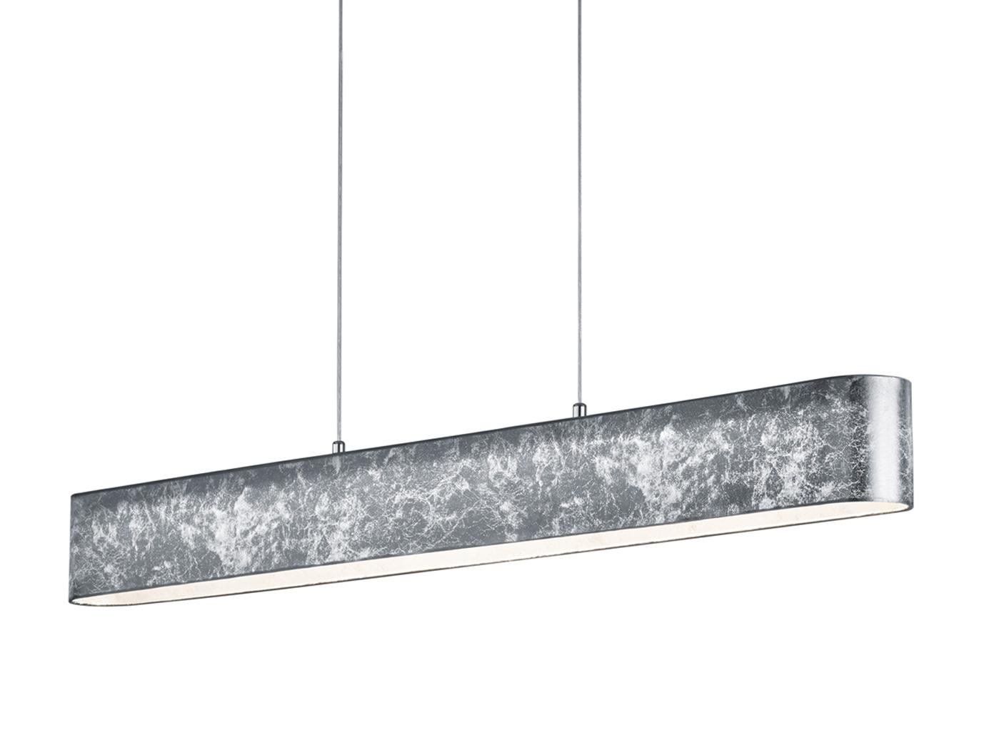 Trio LED Hängeleuchte LUGANO dimmbar Stoffschirm silber, Lampe ...