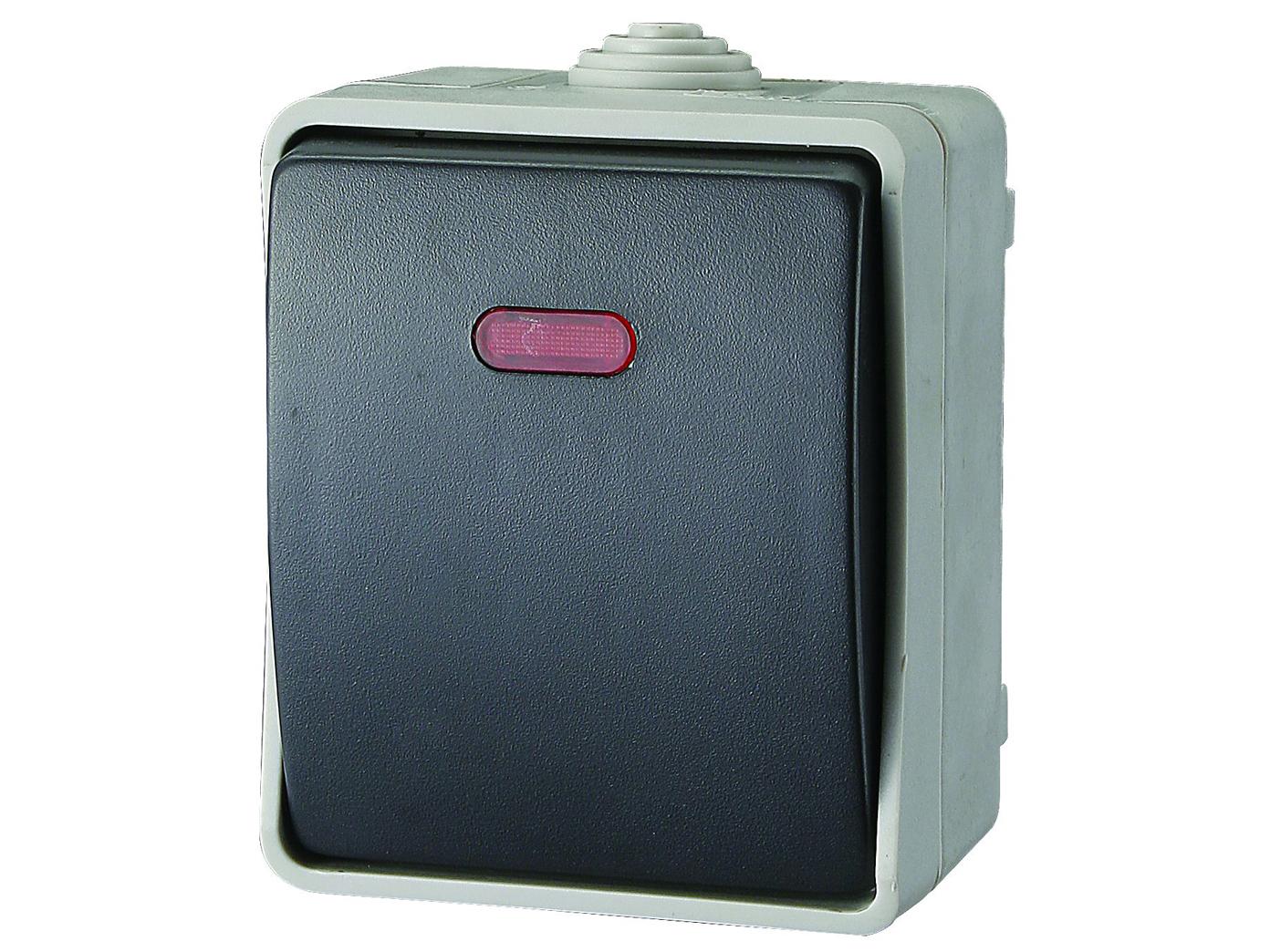 feuchtraum lichtschalter mit kontrollleuchte au enschalter wechselschalter ebay. Black Bedroom Furniture Sets. Home Design Ideas