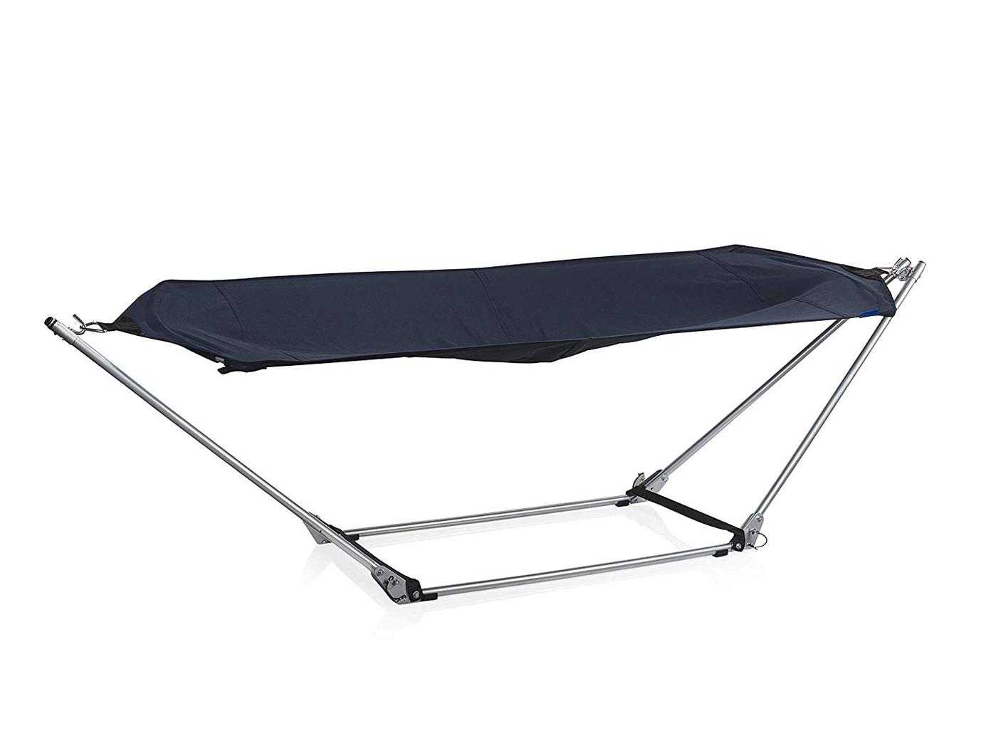 graue h ngematte mit st nder belastbar bis 150kg liegefl che 180 x 87 cm ebay. Black Bedroom Furniture Sets. Home Design Ideas