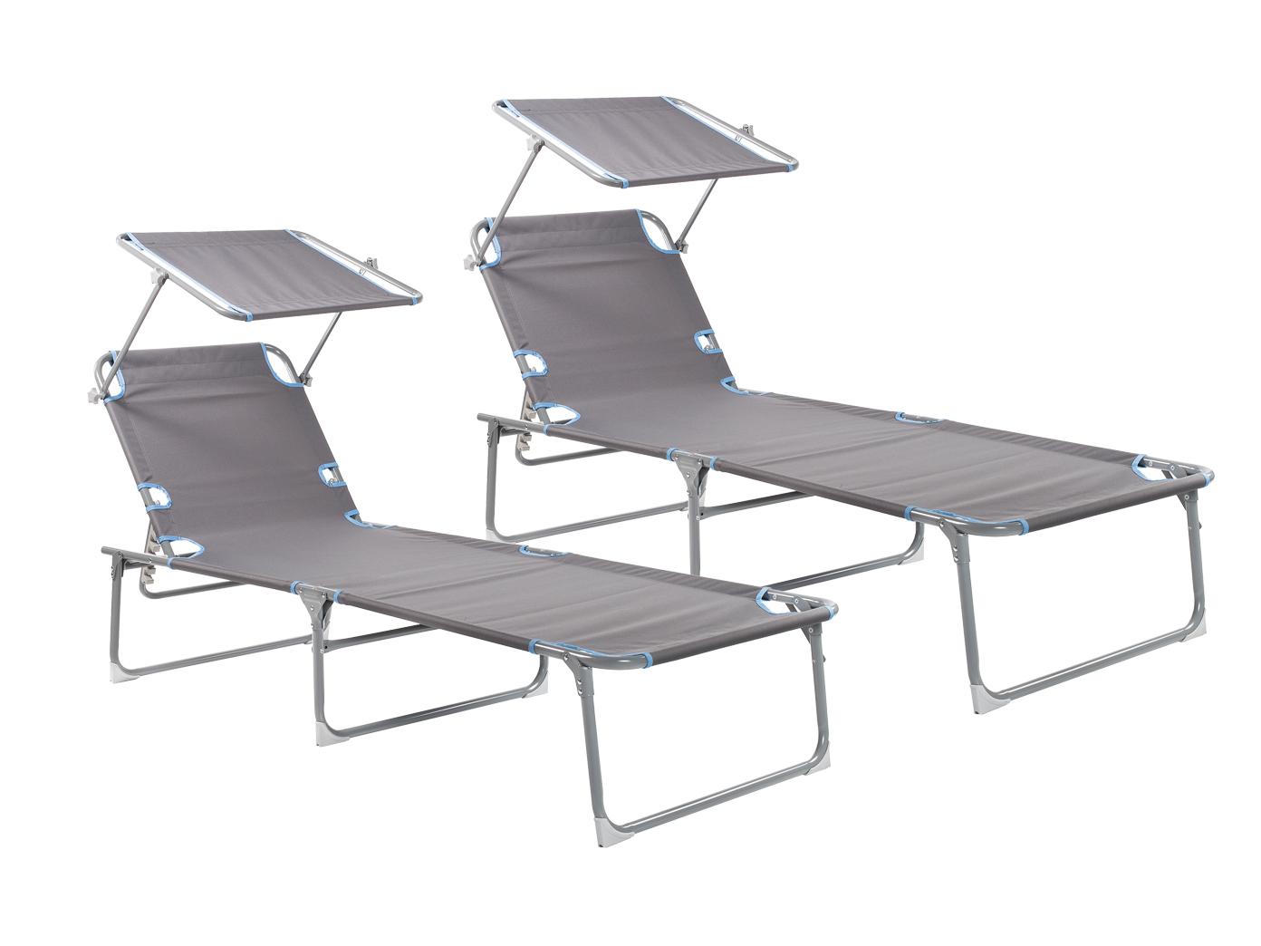 Set 2 kompakte Klappliegen mit 5 Positionen belastbare Strandliege Freizeitliege