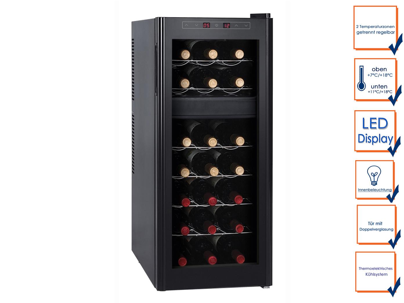 Profi Weintemperierschrank 21 Flaschen 2 Zonen