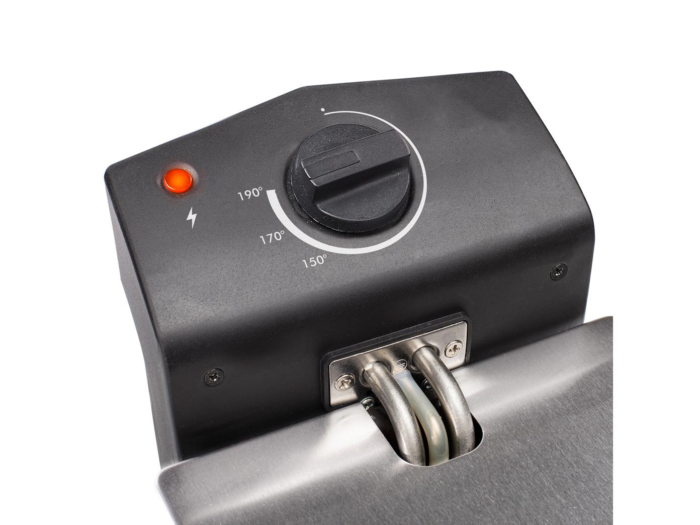 Edelstahlfritteuse-3-Liter-Emaille-Behaelter-Betriebskontrollleuchte-190-C Indexbild 5