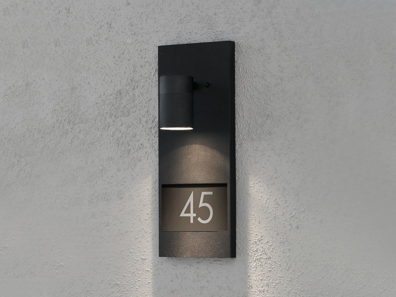 Hausnummerleuchte MODENA Alu schwarz, GU10, Höhe 41 cm, inkl. Ziffern